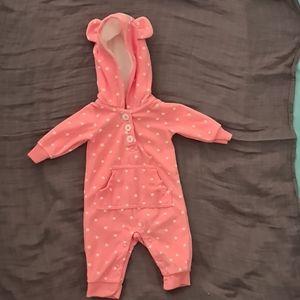 Carter's Baby Girls Newborn Hooded Fleece Jumpsuit